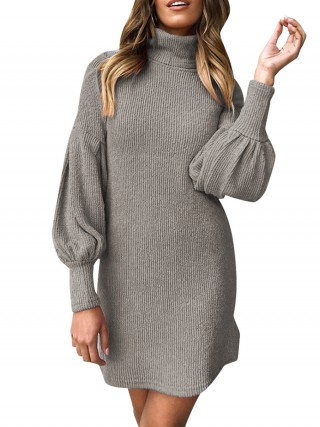 Gray Mini Length High Collar Sweater Dress Womens Fashion Shopping