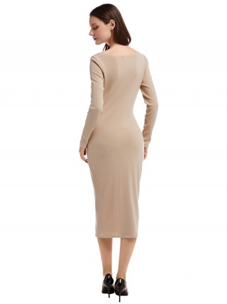 Adorable Apricot V Collar Button Sweater Dress Online