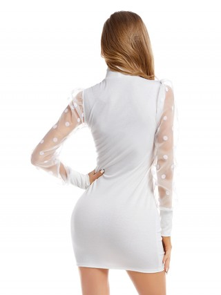 White Mesh Stitching Knitted Sweater Dress Superior Quality