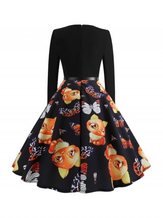 Extra Sexy Zipper Back Patchwork Skater Dress Trend For Women