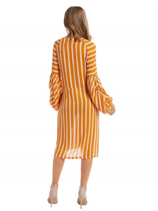 Sweet Yellow Stripe Print Midi Dress Lantern Sleeve Charm
