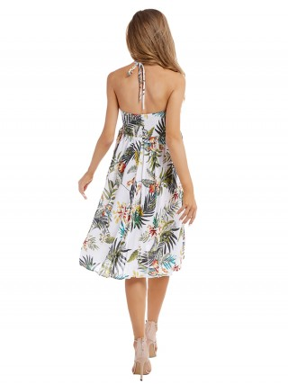 Edgy White Tropical Plants Midi Dress Halter Neck Catch Eyes