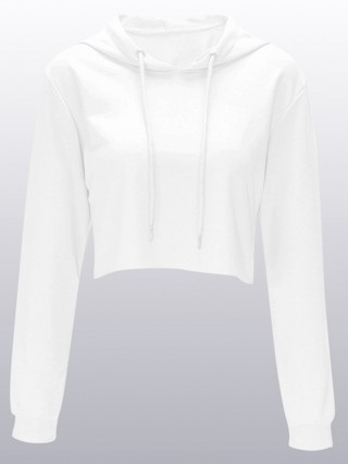 White Crop Long Sleeve Sweatshirt Hooded Neck Delightful Garment