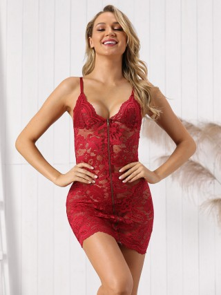 Wine Red Perspective Lace Slender Strap Lingerie Dress For Female