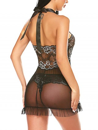 Voluptuous Black Lace Halter Neck Babydoll With Panty Female's High Grade