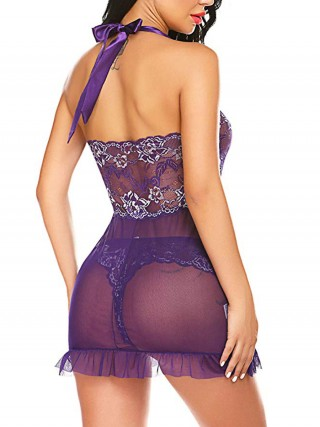 Intimate Purple Halter Collar Open Back Babydoll Lightweight Fabric