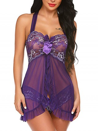 Intimate Purple Halter Collar Open Back Panty Babydoll Lightweight Fabric