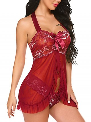 Simplicity Red Bow-Knot Babydoll Lace Sheer Mesh All Over Loose Fitting
