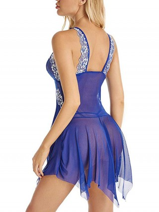 Endless Romance Blue Hook Closure Sheer Mesh Strap Babydoll