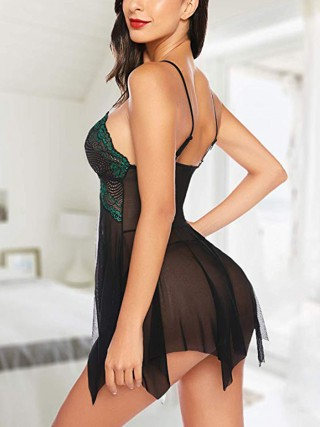 Perfection Green Babydoll Plunge Neck G-String Mesh High Quality