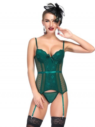 Enchanted Green Bowknot Spaghetti Straps Mesh Bustier Nice Quality