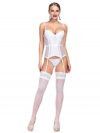 See Through White Dot Print Bowknot Bustier And Thong For Women