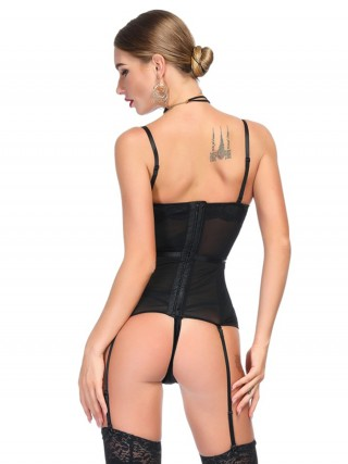 Dreamy Black Lace Stretchy Boning Corset G-String High Grade