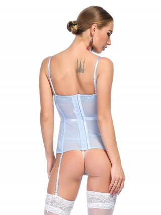 Vanity Light Blue Eyelash Lace Bustier With Thong Sling
