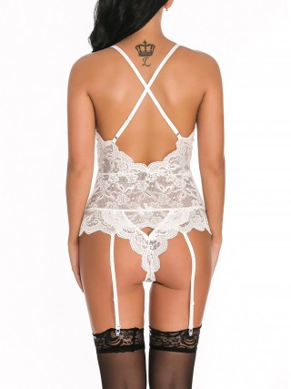 Tempting White Open Back Bodystocking Solid Color Super Comfortable