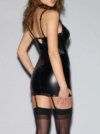Gorgeously Coloured Black Pu Leather Lace Bodystocking Hollow Out Slimming Style