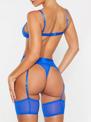 Romantic Blue Open Back High Cut Bodystocking Lightweight