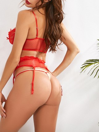 Tempting Red Solid Color Bodystockting Sets Lace Cheap