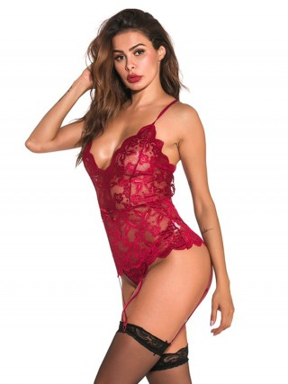 Garnet Wine Red Bodystocking Cross Back Lace Mesh Midnight