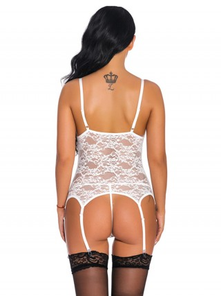 Cheap Ecstasy White Cross Tie Sling Garters Lingerie Set