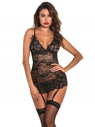 Delightful Black Floral Print Bodystocking Sheer Mesh Inexpensive