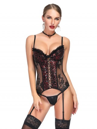 Gentle Rhinestone Lace Splice Bustier Thong All Over Loose Fit