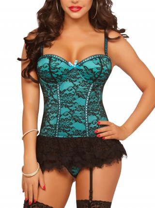 Sophisticated Light Green Lace Mesh Push Up Bustier Plus Size