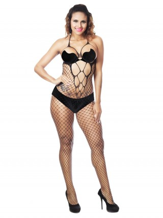 Tantalizing Black Halter Neck Bodystocking Hollow Out Modern Fit