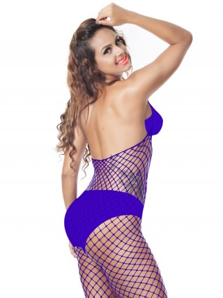 Stretch Dark Purple Bodystocking Halter Collar Full Length Comfortable