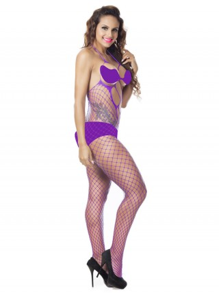 Light Purple Slender Sling Bodystocking Eyelet Design Intimate Fashion