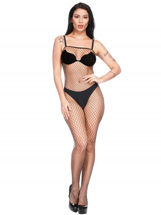 Super Black Open Crotch Bodystocking Square Neck For Female Fashion