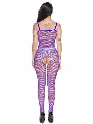 Inviting Blue Bodystocking Hollow Out Full Length Slim