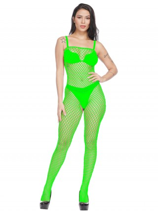 Stylish Green Bodystocking Hollow Out Slender Strap High Grade Fabric