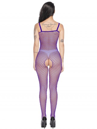 Dainty Purple Solid Color Eyelet Bodystocking Strap Online