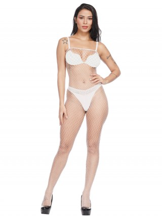 Dainty White Hollow Out Solid Color Bodystocking Cool Fashion