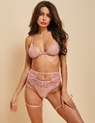 Trendy Pink High Waist Panty Lace Stocking Bra Set Online Sale