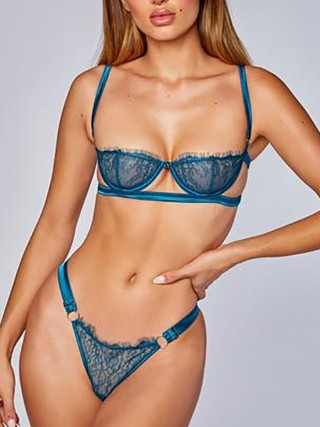 Exquisitely Sapphire Blue Lace Sheer Mesh Bra Set Hollow Out