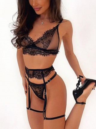 Spellbound Black 3 Pieces Lace Bra G-String Garter Belt For Cutie