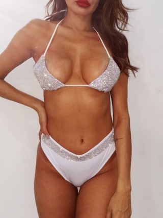 Smooth White Halter Neck Bra Set Diamond Patchwork High Grade