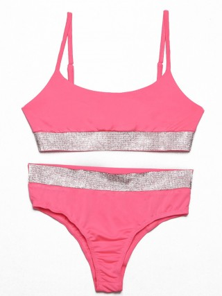 Lustful Pink Adjustable Sling Patchwork High Rise Bralette Affordable