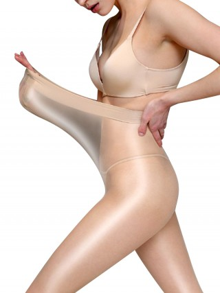 Ethereal Skin Color Sheer Mesh High Waist Elastic Stocking Slim Style