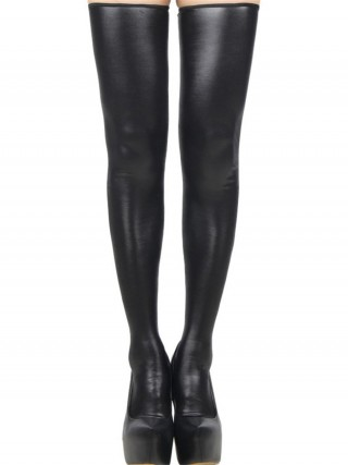 Enchanted Black PU Leather Solid Color Stockings Zip Close Comfort