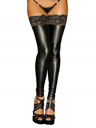 Exotic Black PU Leather Lace Thigh High Stockings For Cutie