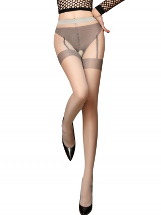 Must-Have Gray Perspective Open Crotch Pantyhose Attractive Wear