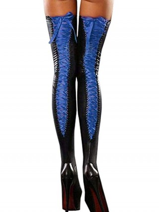 Expensive Blue Contrast Color Thigh Highs Garter Superior Quality