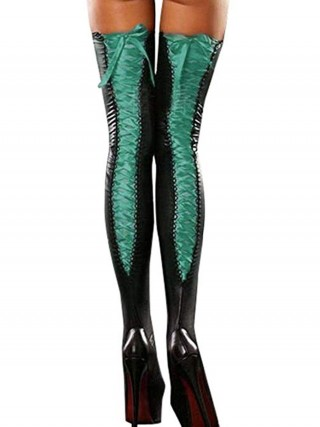 Perfection Green Leather Thigh High Stockings Ruched Fashionable Affordable