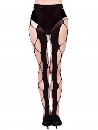 Honeymoon Black High Waist Hollow Out Pantyhose Slimming Figure