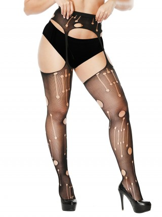 Admiring Black Sheer Mesh Garter Slender Sling Standard Fit Allover