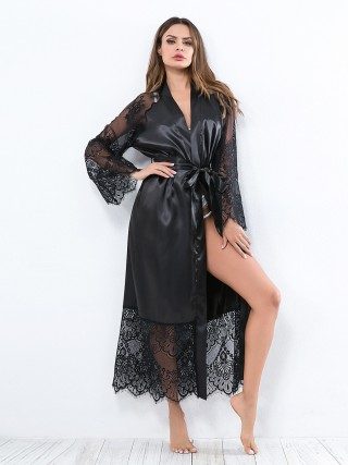 Resilient Black Lace Patchwork Nightgown Waist Tie Fashion Style
