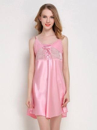 Homely Pink Open Back Sheer Mesh Sleepwear Cheap Online